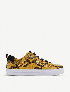 BERTIE Emerse snakeskin-embossed leather trainers