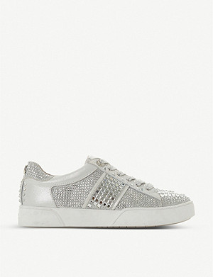 DUNE Elsie S diamanté-embellished woven trainers