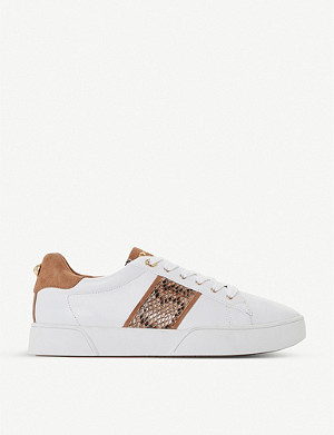 DUNE Elsie snake print-panelled leather trainers