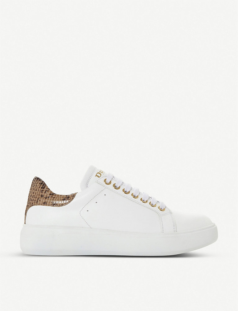 Dune Entity contrast-heel leather trainers