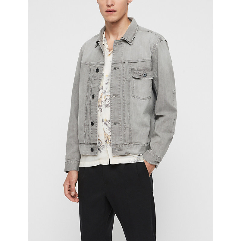 Allsaints Gasidro Distressed Denim Jacket In Grey