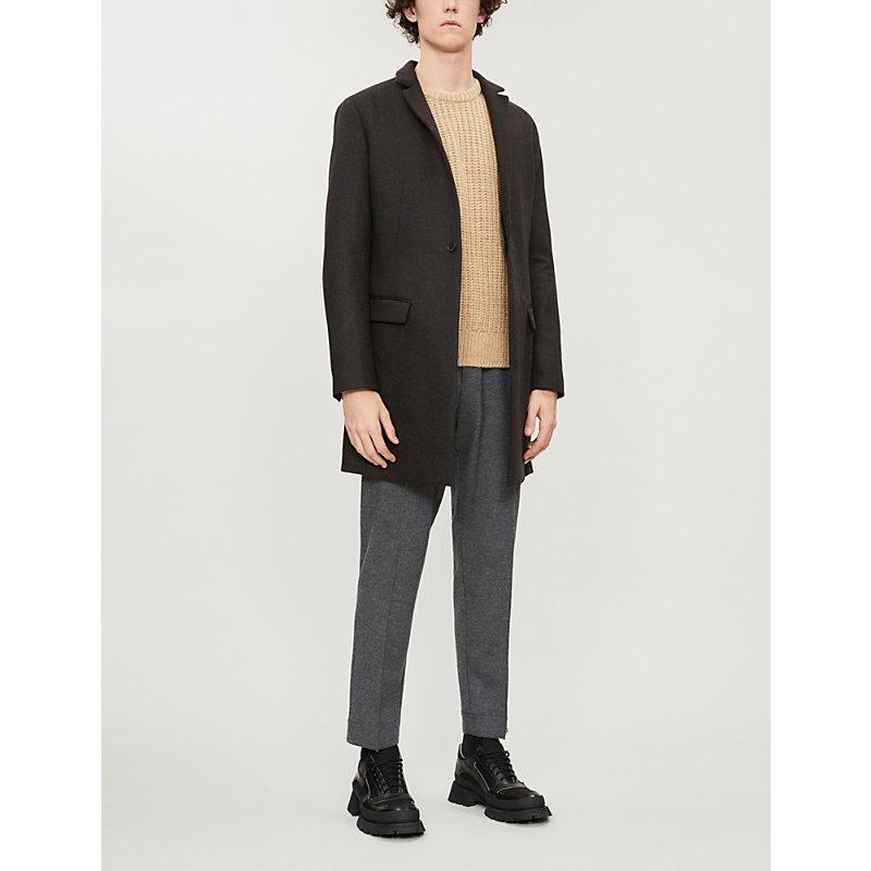 Allsaints Berkley Slim-Fit Wool-Blend Coat In Charcoal/Brown