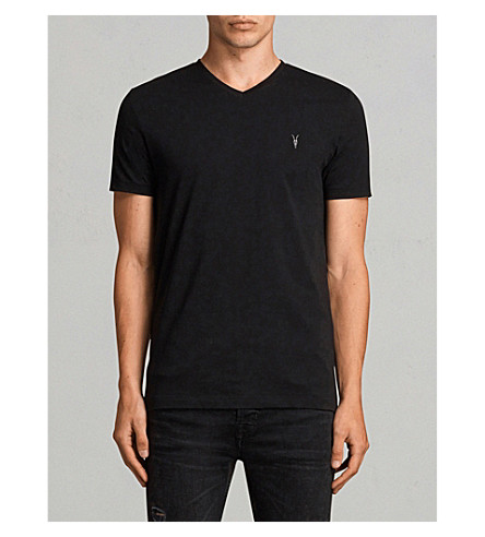 Allsaints Brace Crewneck Cotton-Jersey T-Shirt In Jet Black