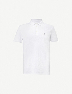 ALLSAINTS Logo-embroidered cotton-jersey polo shirt