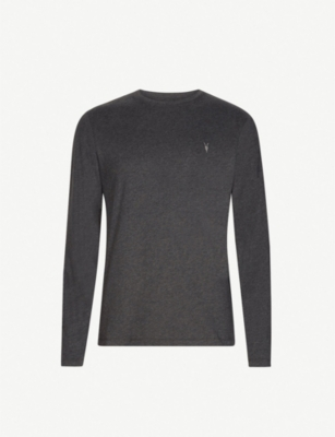 Allsaints Brace Long-sleeved Cotton-jersey Top In Charcoal Marl