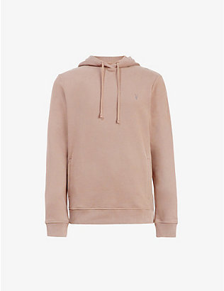 ALLSAINTS: Raven logo-embroidered cotton-fleece hoody