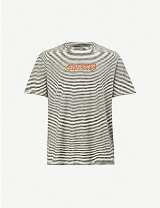 ALLSAINTS: Logo-print striped cotton-jersey T-shirt