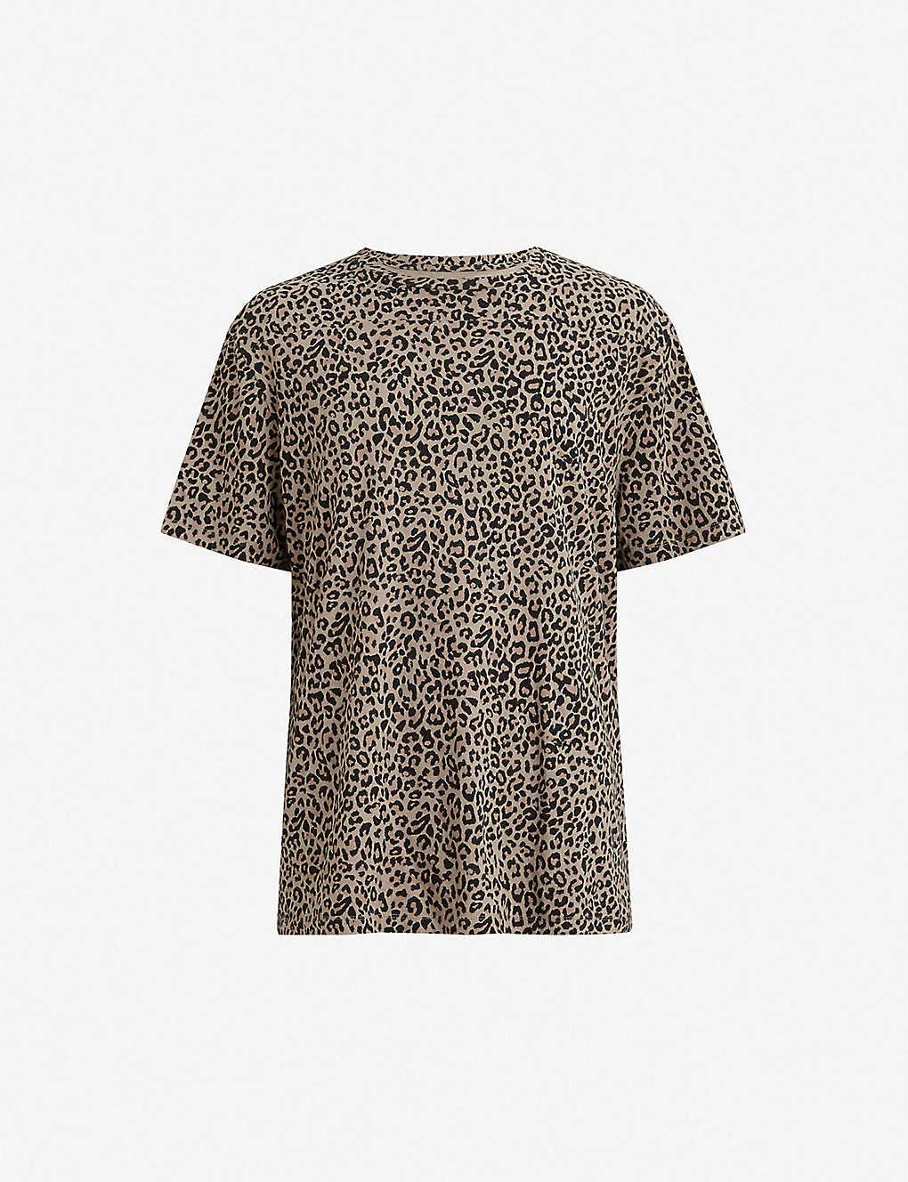 f3c0c22b174bf ALLSAINTS - Leopard two-tone cotton T-shirt | Selfridges.com