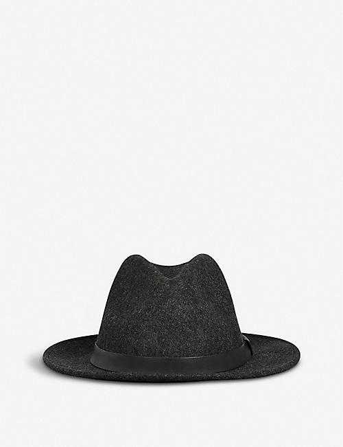 ALLSAINTS: Bronson leather-trim wool fedora