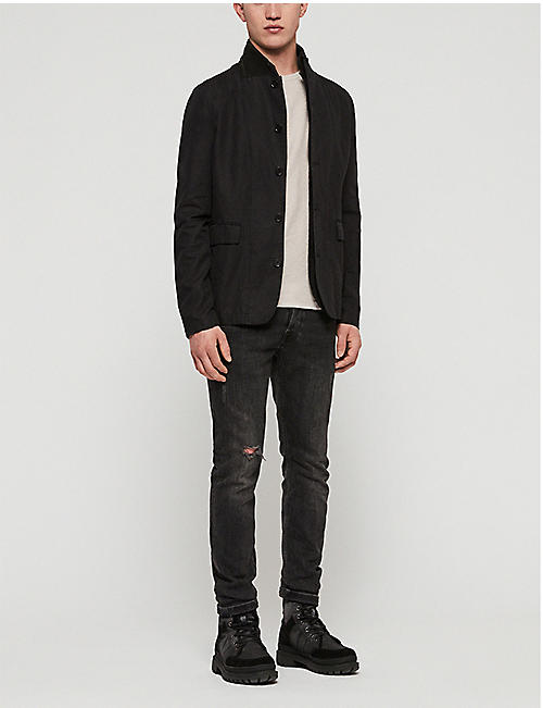ALLSAINTS Acklam linen and cotton-blend blazer