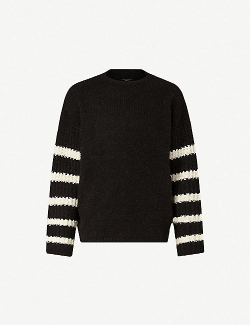 a9ddcb83d80e ALLSAINTS Eldon striped-sleeve oversized knitted jumper