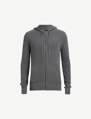 Allsaints Mode Slim Fit Merino Wool Zip Hoodie In Greymarl