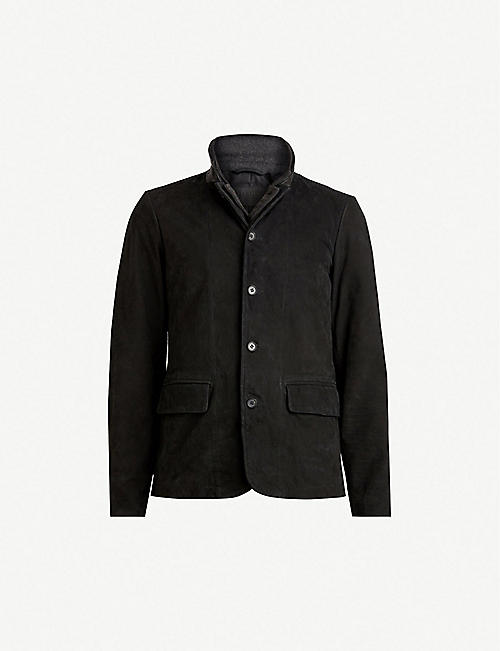 ALLSAINTS: Survey brushed-leather blazer