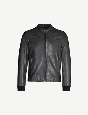 ALLSAINTS Marsh mandarin collar leather jacket