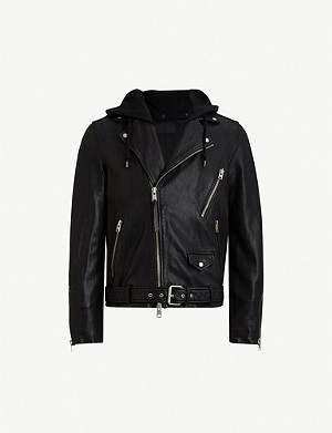 ALLSAINTS Renzo hooded leather biker jacket
