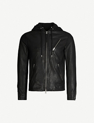 ALLSAINTS Harwood leather and jersey jacket