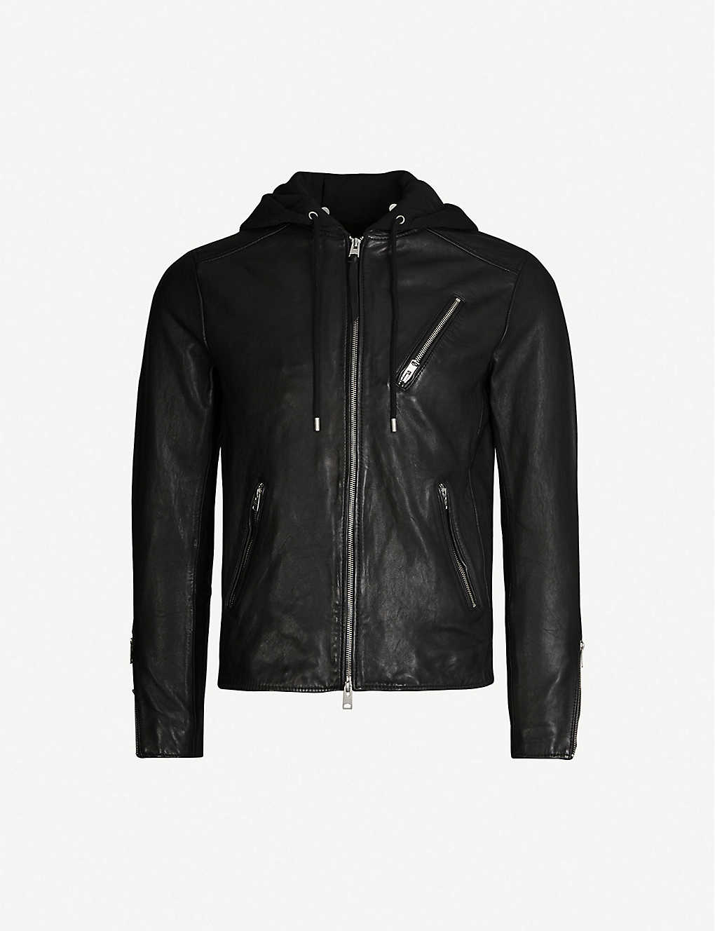 ALLSAINTS: Harwood leather and jersey jacket