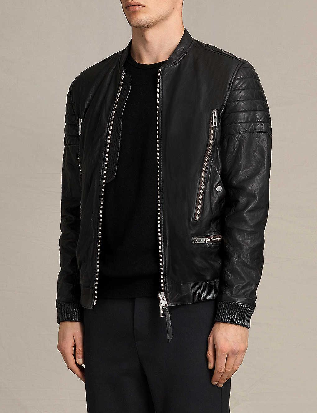 89db1dc62 ALLSAINTS - Sanderson leather bomber jacket | Selfridges.com