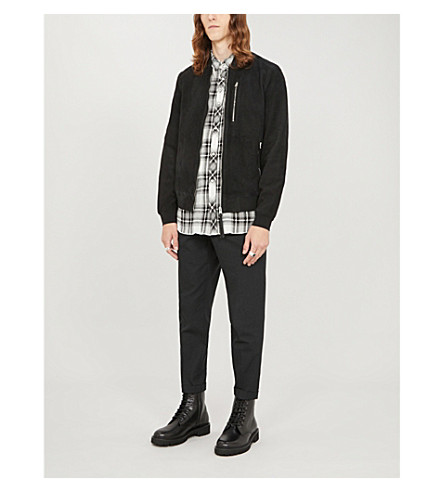 Allsaints Stones Leather Bomber Jacket In Black