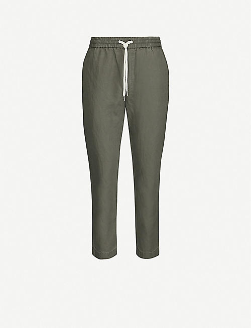 ALLSAINTS Luckett slim-fit straight-leg cotton and linen-blend trousers