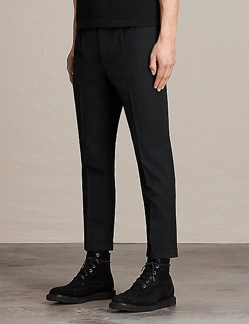 ALLSAINTS Tallis regular-fit tapered cotton and wool-blend trousers