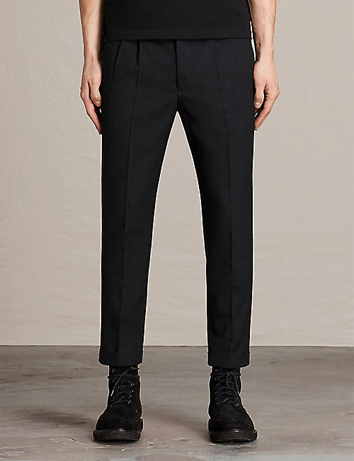 ALLSAINTS: Tallis regular-fit tapered cotton and wool-blend trousers