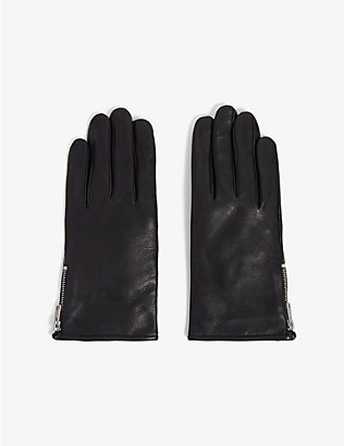 ALLSAINTS: Zip-detail touchscreen leather gloves