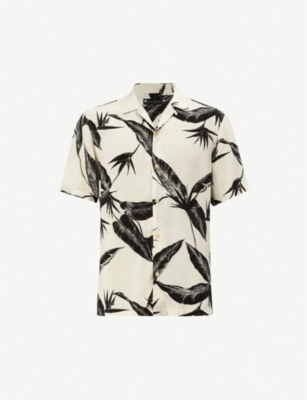 ALLSAINTS Virginia slim-fit feather-print woven shirt