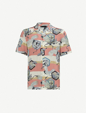 ALLSAINTS Shield bird-print woven shirt