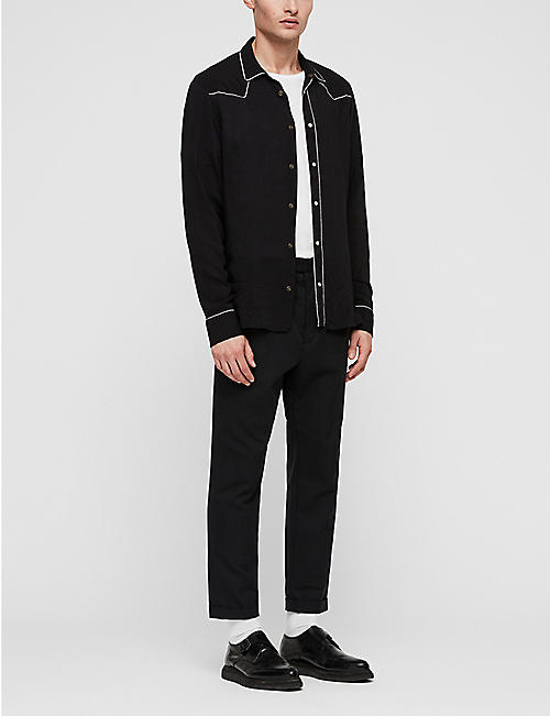 ALLSAINTS Nero piped-trim woven shirt