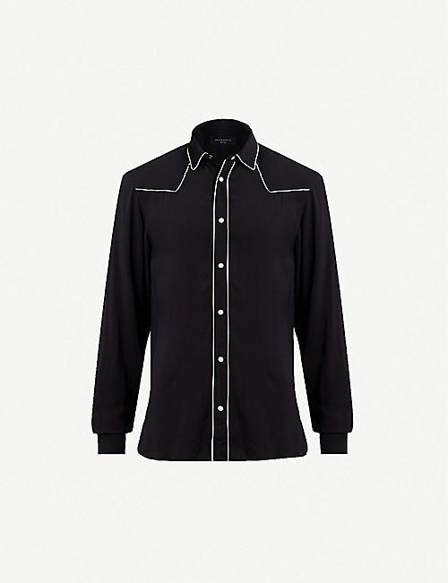 df52111e6b82 ALLSAINTS Nero piped-trim woven shirt