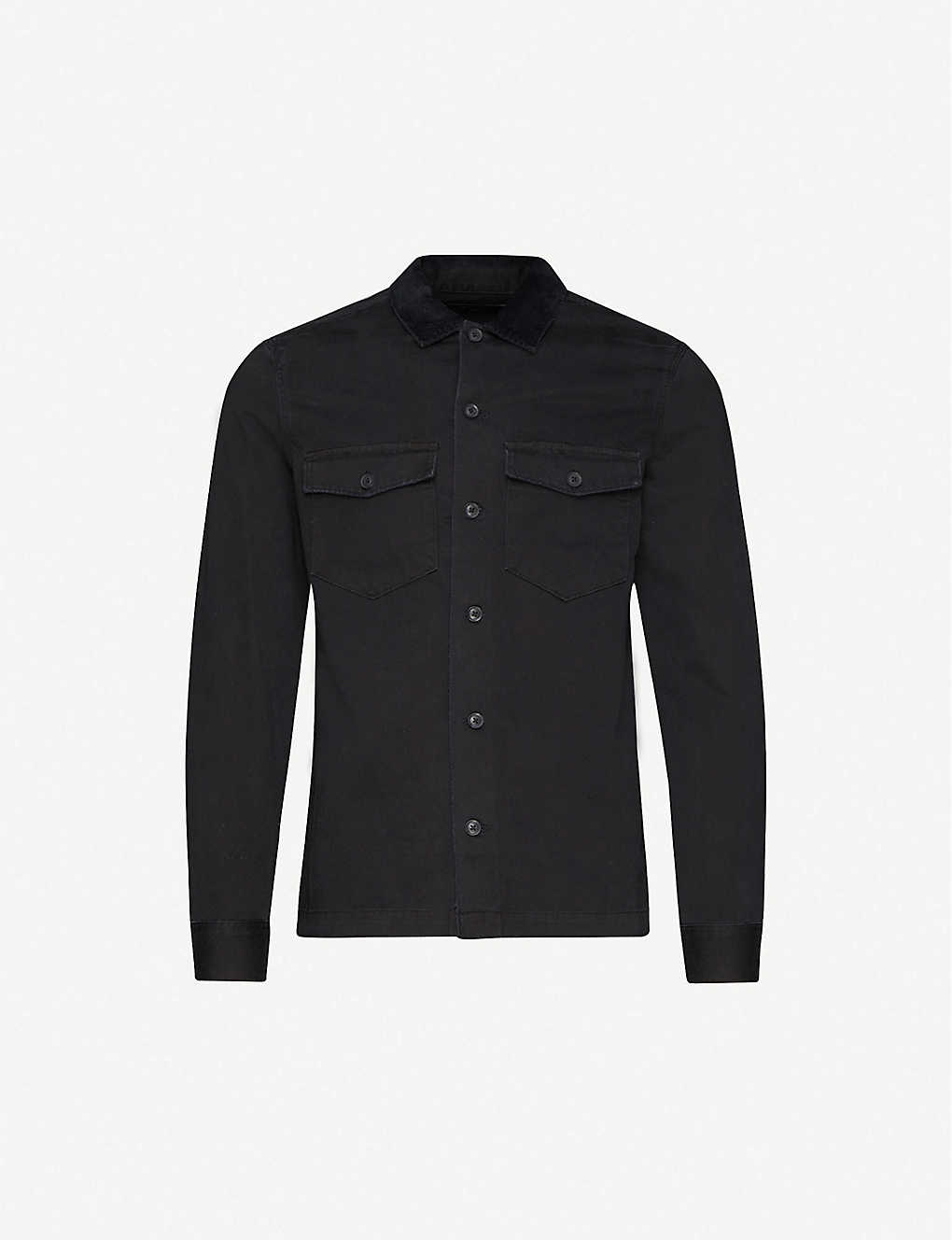 ALLSAINTS: Lancer corduroy-collar slim-fit cotton shirt