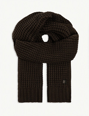 ALLSAINTS Thermal wool-blend waffle knit scarf