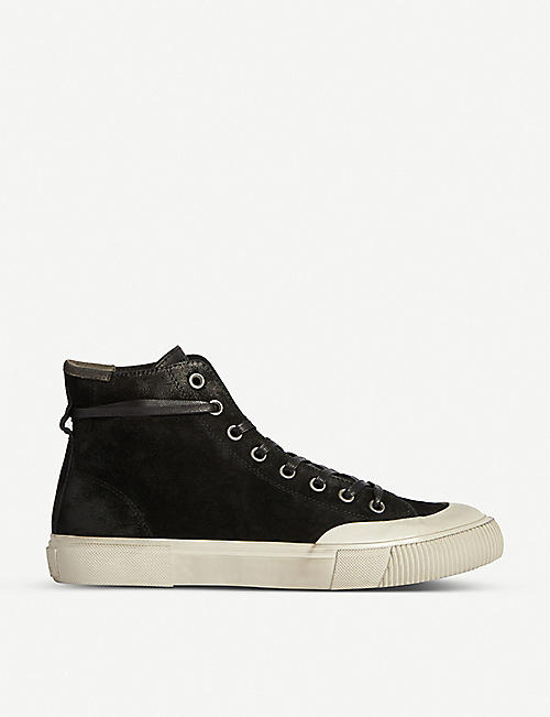 ALLSAINTS: Dumont brand-patch suede high-top trainers