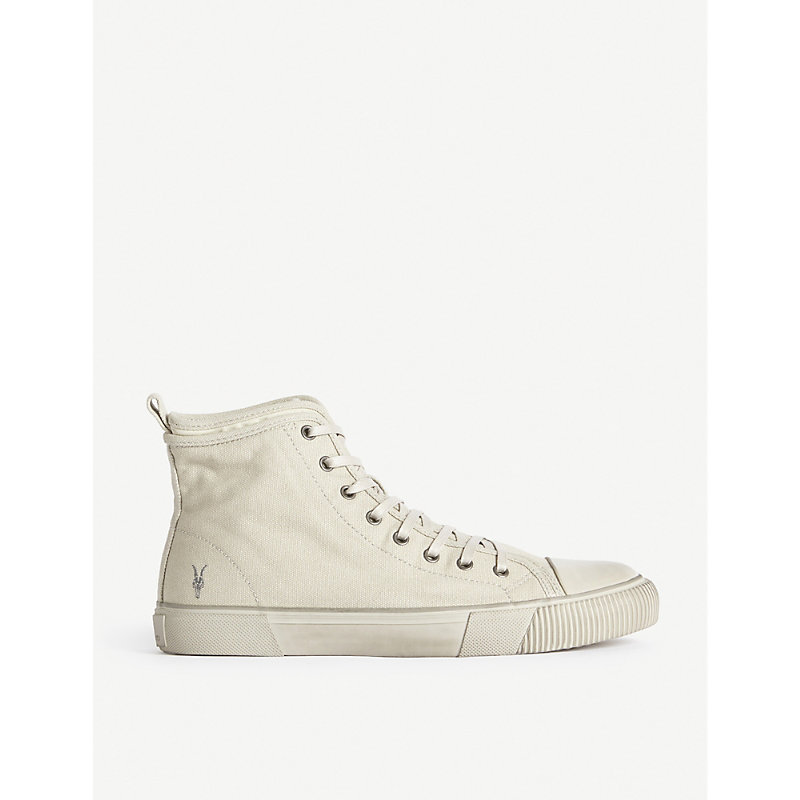 Allsaints RIGG RAMSKULL EMBROIDERED COTTON-CANVAS HIGH-TOP TRAINERS