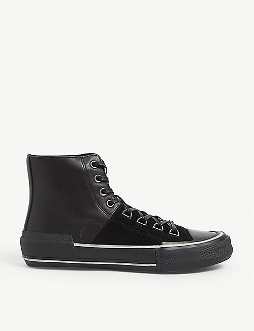 ALLSAINTS: Waylon leather and suede high top trainers