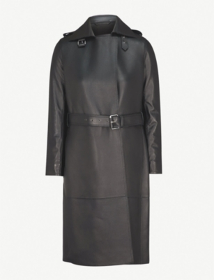 REISS Emmerson leather trench coat