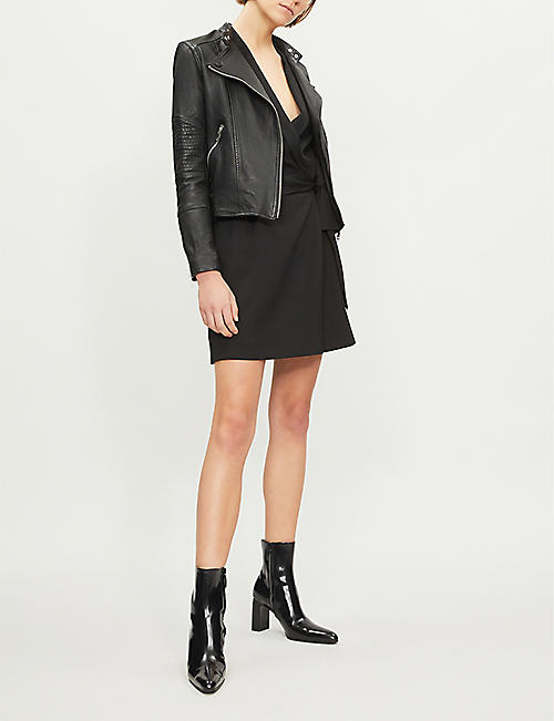 3007f732ee969 REISS Tay quilted-panel leather jacket