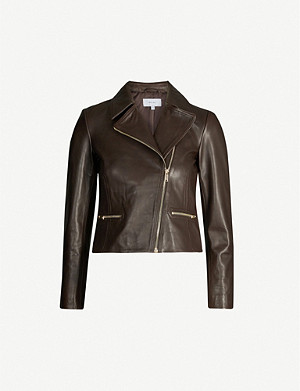 REISS Shae cropped fitted leather jacket
