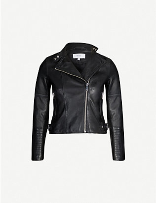 REISS: Tallis asymmetric cropped leather jacket