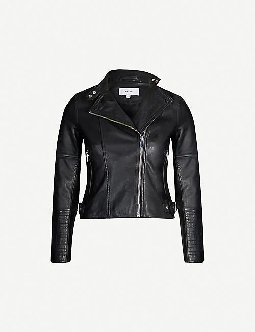 REISS Tallis asymmetric cropped leather jacket
