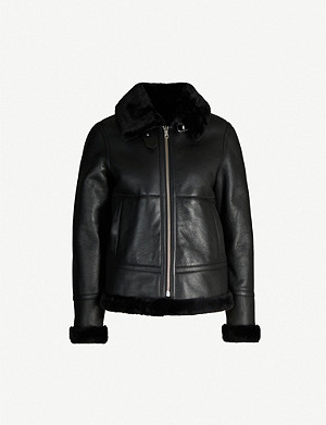 REISS Belle shearling-lined leather aviator jacket