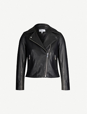 REISS Geo asymmetric leather jacket