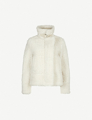 REISS Clarice reversible shearling and leather jacket