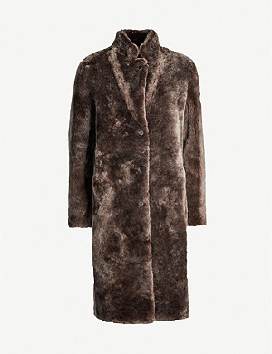 REISS Joy reversible faux-fur and leather coat