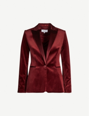 Vixena single-breasted cotton-velvet blazer - CLARET