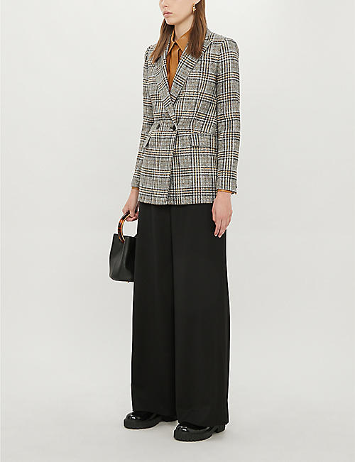 REISS Leighton checked regular-fit woven jacket