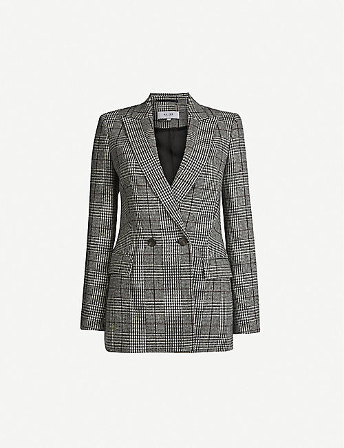 REISS Tanna double-breasted woven jacket