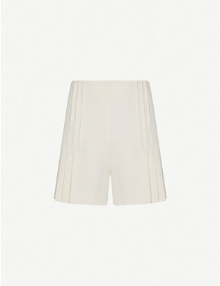 REISS: Aurora pleated high-waist woven shorts