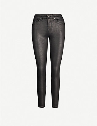 REISS: Lux snake-print coated skinny jeans